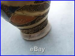 Antique Vintage Small Japanese Late Meiji Period Satsuma Vase Gold Stamped