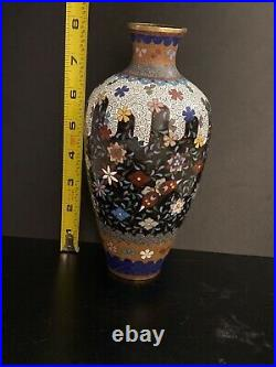 Antique japanese meiji period cloisonné Blue enamel vase butterflies 8 Tall