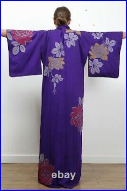 Antique traditional Japanese silk kimono Meiji period 1868-1912