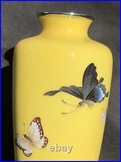 Authentic Japanese Cloisonne Vase by Master Ando Jubei Meiji Period, Hallmarked