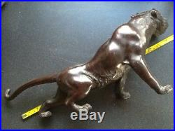 Beautiful Antique Bronze Japanese Tiger Meiji Period Signed To Belly 19 48cm