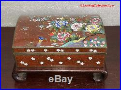 Beautiful & Large Antique Japanese Meiji Period INABA Cloisonne Covered Box