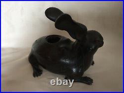Bronze Japanese Meiji Period Rabbits Incense Burners