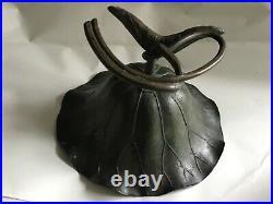 C1890's Japanese Meiji Period Bronze Ikebana Lotus Blossom Bowl With Leaf Design