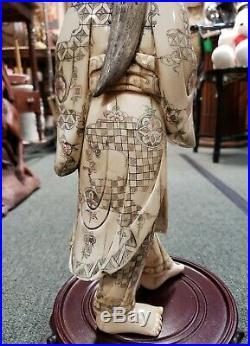 Circa Late 19th Century Japanese Okimono Geisha Carving (Meiji Period)