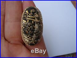 Collectible Japanese Shakudo ORIENTAL MOTIF 14K GOLD Meiji Period RING SIGNET 7