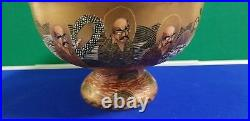 Early 20th Century Meiji Period Satsuma Immortals Raised Pedestal Bowl Superb