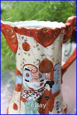 Elaborated shape Japanese Kutani tea pot, signed, Meiji (1868-1913) period