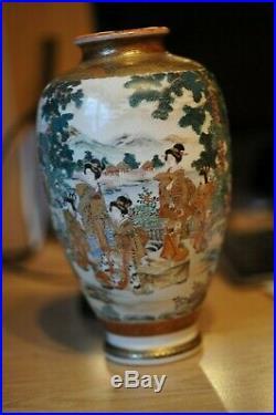 Elegant Japanese Antiques Enamel Satsuma Vase Meiji Period