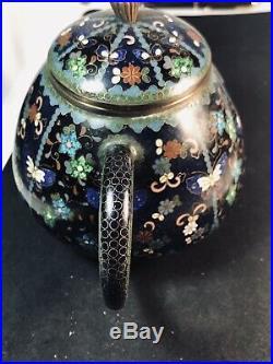Exquisite Antique Japanese Meiji Period Cloisonne Teapot