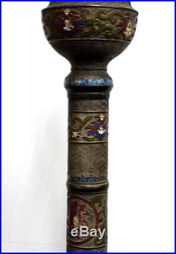 Extremely Rare Japanese Antique Cloisonne Bronze Gas Lamp 6' 5 Meiji Period