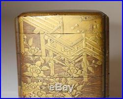 FINE antique Japanese 1800's Meiji period 5 compartment Gold Lacquer Inro ornate