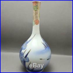 Fine Antique Japanese Fukagawa Koi Carp Vase 9 Character Mark Meiji Period