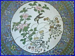 Fine Japanese Cloisonne Charger, Bird, Flowers, Meiji Period, Circa 1890-1910