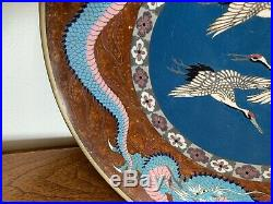 Fine Japanese Cloisonne Plate Silver Wire Meiji Period Marked