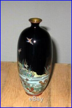 Fine Meiji Period Japanese Cloisonne Enamel Vase with Three Birds, Water Scene