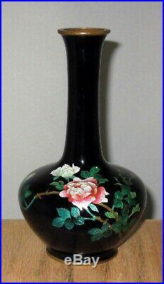 Fine Meiji Period Japanese Partial Ginbari Cloisonne Enamel Vase with Roses