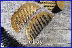 Four Japanese Meiji Period Kushi Kanzashi Hair Combs With Gold Leaf Finish