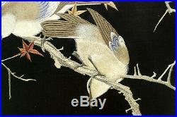 Framed Japanese Silk Embroidery Panel Meiji Period
