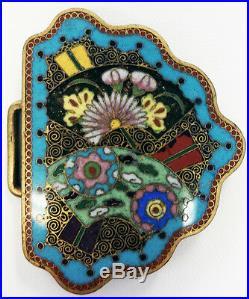 Gorgeous Pr Japanese Meiji Period Cloisonne Floral And Fan Motif Belt Buckles