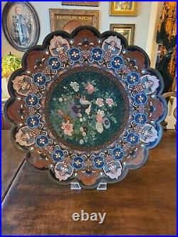 HUGE Antique Japanese Cloisonne Charger Platter Shallow Bowl Meiji Period