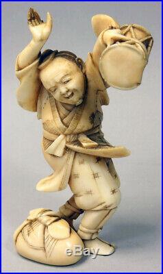 High Quality Antique Meiji Period 1868-1912 Japanese Carving Okimono Man Drum