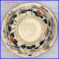 Huge 50cmD Japanese Meiji Period Satsuma Ceramic Bowl Gosu Blue Enamels Flowers