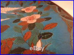 Japanese 1890s Cloisonné Plate. Meiji period. Cranes flying among floral. 11 ¾