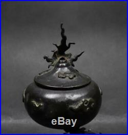 Japanese Antique Bronze Dragon Incense Burner by Kimura Toun Meiji Period