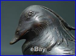 Japanese Antique Bronze Ornament Birds on Rock 15 Meiji Period