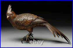 Japanese Antique Bronze Parrot Parakeet Sculpture Figurine Meiji Period