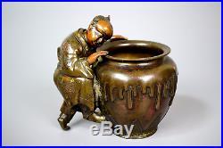 Japanese Antique Bronze Peeping Boy Pot, Movable Head, Meiji Period
