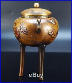 Japanese Antique Bronze Three Legs Incense Burner Meiji Period