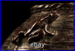 Japanese Antique Bronze Vase Looks Like Bamboo Basket with a Frog, Meiji Period