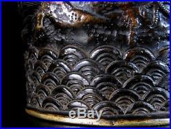 Japanese Antique Bronze Vase Pheasants, Female Farmer & Samurai Meiji Period