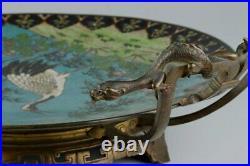 Japanese Antique Cloisonne Plate with Handles Crane Bird 14 Meiji Period