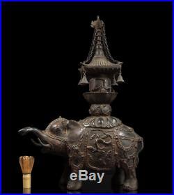 Japanese Antique Elephant Carrying Pagoda Large Bronze Statue Meiji Period
