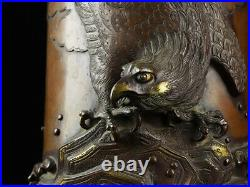 Japanese Antique Falcon Bronze Vase by Kanaya Gorosaburo XI Meiji Period
