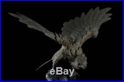 Japanese Antique Falcon Hawk Bronze Statue Ornament Meiji Period