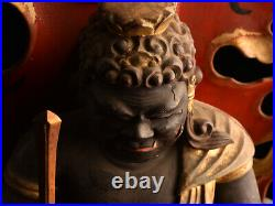 Japanese Antique Fudo Myo O Wooden Seated Statue with Shrine Meiji Period