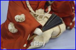 Japanese Antique Gofun Doll Handsome Young Samurai Meiji Period 9