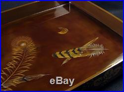 Japanese Antique Lacquer Feathers Makie Tray Meiji Period