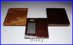 Japanese Antique Lacquer Folding Fan Maki-e Suzuribako Inkstone Box Meiji Period