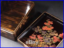Japanese Antique Lacquer Makie Box Inkstone Case Set Meiji Period
