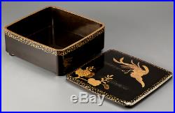 Japanese Antique Lacquer Phoenix Makie Cake Box Meiji Period