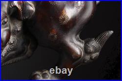 Japanese Antique Lion Shishi Foo Dog Bronze Incense Burner Meiji Period
