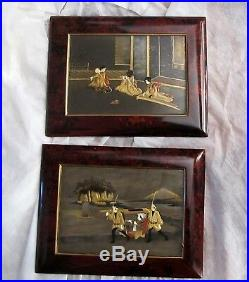 Japanese Antique Meiji Period Lacquer Plaques Paintings Gold Bone Pearl Inlay