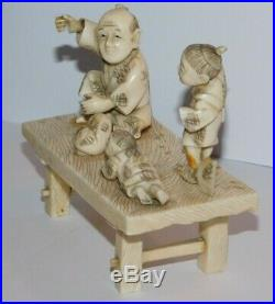 Japanese Antique Meiji Period, Signed Carved Figures Okimono Lot For Repair A/F