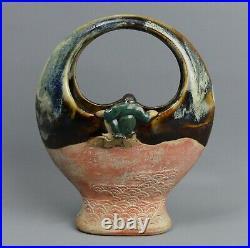 Japanese Antique Meiji Period Sumida Gawa Pottery Vase C. 1890