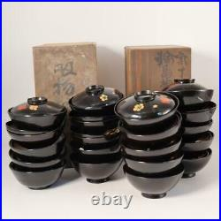 Japanese Antique Meiji period wooden Wajima lacquer 20 bowls w / box KG33